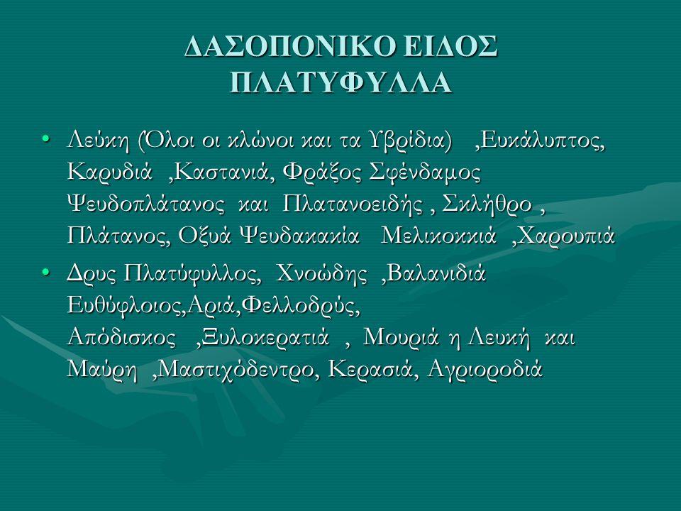 ΔΑΣΟΠΟΝΙΚΟ ΕΙΔΟΣ ΠΛΑΤΥΦΥΛΛΑ •Λεύκη (Όλοι οι κλώνοι και τα Υβρίδια),Ευκάλυπτος, Καρυδιά,Καστανιά, Φράξος Σφένδαμος Ψευδοπλάτανος και Πλατανοειδής, Σκλήθρο, Πλάτανος, Οξυά Ψευδακακία Μελικοκκιά,Χαρουπιά •Δρυς Πλατύφυλλος, Χνοώδης,Βαλανιδιά Ευθύφλοιος,Αριά,Φελλοδρύς, Απόδισκος,Ξυλοκερατιά, Μουριά η Λευκή και Μαύρη,Μαστιχόδεντρο, Κερασιά, Αγριοροδιά