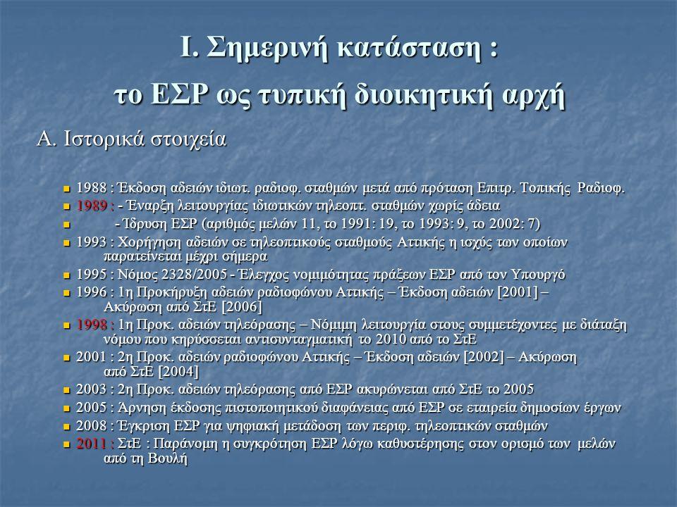 Ι. Σημερινή κατάσταση : το ΕΣΡ ως τυπική διοικητική αρχή Α.