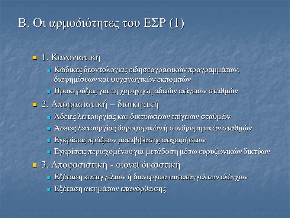 Β. Οι αρμοδιότητες του ΕΣΡ (1)  1.
