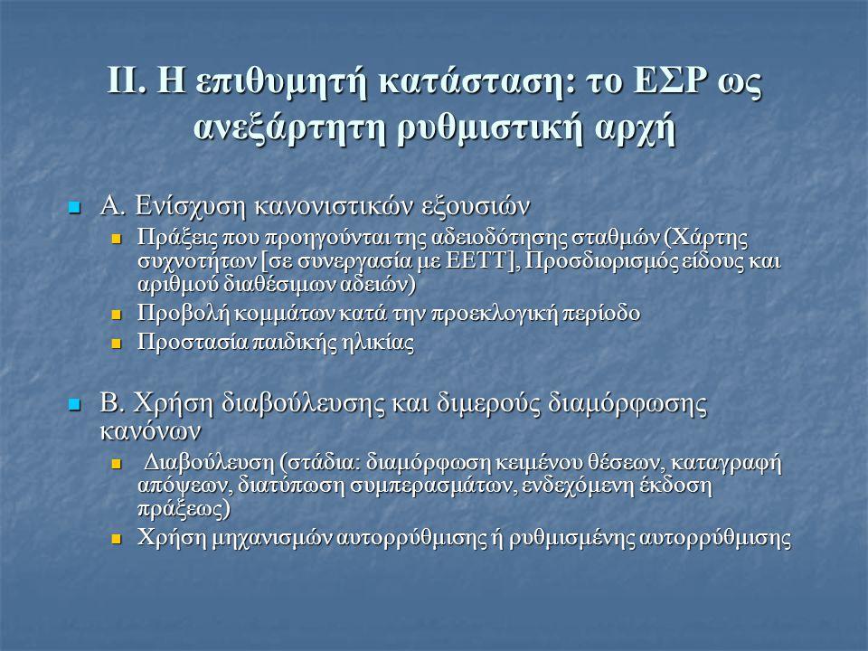 ΙΙ. Η επιθυμητή κατάσταση: το ΕΣΡ ως ανεξάρτητη ρυθμιστική αρχή  Α.