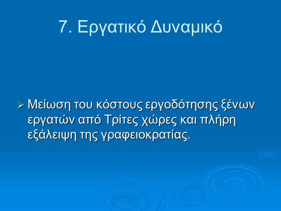 7. Εργατικό Δυναμικό  Μείωση του κόστους εργοδότησης ξένων εργατών από Τρίτες χώρες και πλήρη εξάλειψη της γραφειοκρατίας.