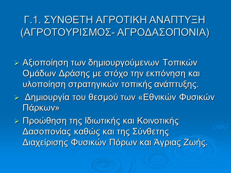 Γ.1. ΣΥΝΘΕΤΗ ΑΓΡΟΤΙΚΗ ΑΝΑΠΤΥΞΗ (ΑΓΡΟΤΟΥΡΙΣΜΟΣ- ΑΓΡΟΔΑΣΟΠΟΝΙΑ)  Αξιοποίηση των δημιουργούμενων Τοπικών Ομάδων Δράσης με στόχο την εκπόνηση και υλοποίη
