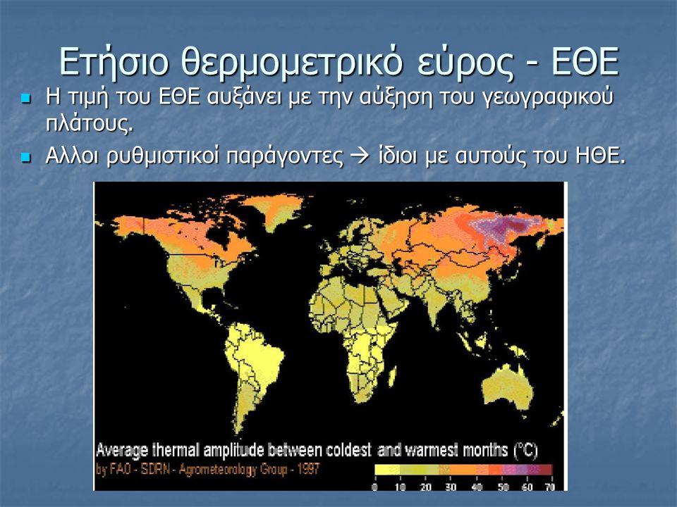 Ετήσιο θερμομετρικό εύρος - ΕΘΕ  Η τιμή του ΕΘΕ αυξάνει με την αύξηση του γεωγραφικού πλάτους.  Αλλοι ρυθμιστικοί παράγοντες  ίδιοι με αυτούς του Η