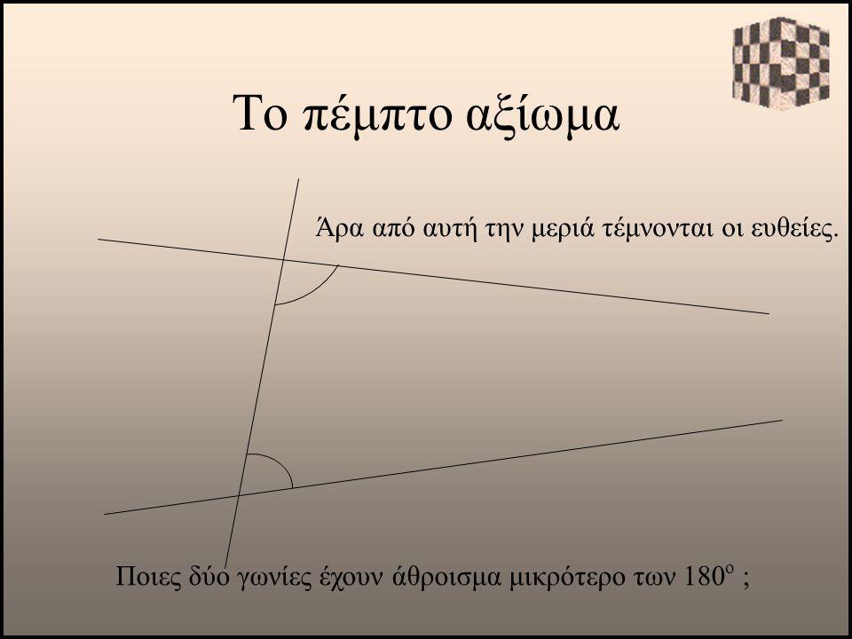 Το πέμπτο αξίωμα Ποιες δύο γωνίες έχουν άθροισμα μικρότερο των 180 ο ; Άρα από αυτή την μεριά τέμνονται οι ευθείες.