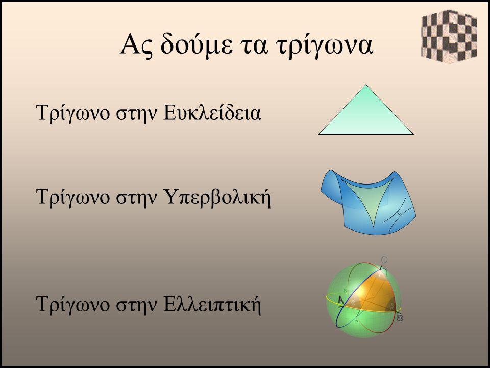 Ας δούμε τα τρίγωνα Τρίγωνο στην Ελλειπτική Τρίγωνο στην Υπερβολική Τρίγωνο στην Ευκλείδεια