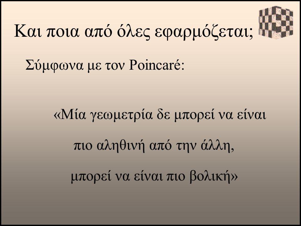 Και ποια από όλες εφαρμόζεται; Σύμφωνα με τον Poincaré: «Μία γεωμετρία δε μπορεί να είναι πιο αληθινή από την άλλη, μπορεί να είναι πιο βολική»