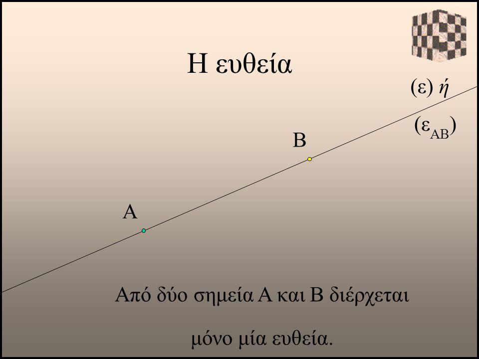 (ε) ή Α Από δύο σημεία Α και Β διέρχεται μόνο μία ευθεία. Β (ε ΑΒ )