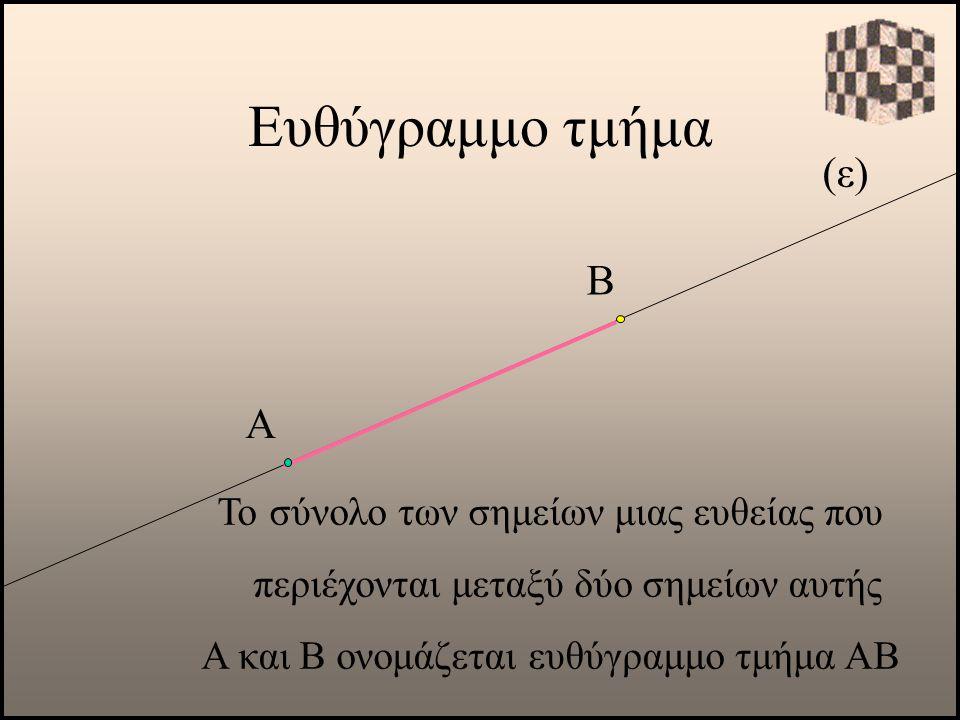 Ευθύγραμμο τμήμα (ε) Α Το σύνολο των σημείων μιας ευθείας που περιέχονται μεταξύ δύο σημείων αυτής Α και Β ονομάζεται ευθύγραμμο τμήμα ΑΒ Β