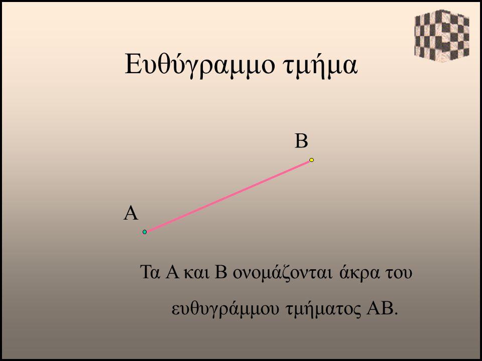 Α Τα Α και Β ονομάζονται άκρα του ευθυγράμμου τμήματος ΑΒ. Β