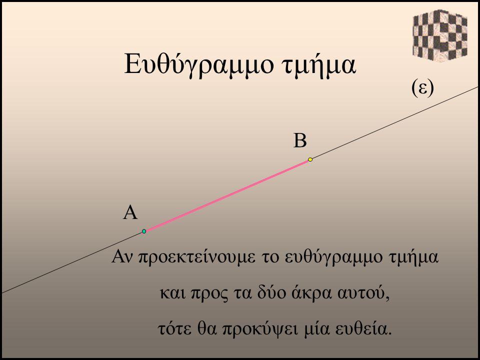 (ε) Α Αν προεκτείνουμε το ευθύγραμμο τμήμα και προς τα δύο άκρα αυτού, τότε θα προκύψει μία ευθεία. Β