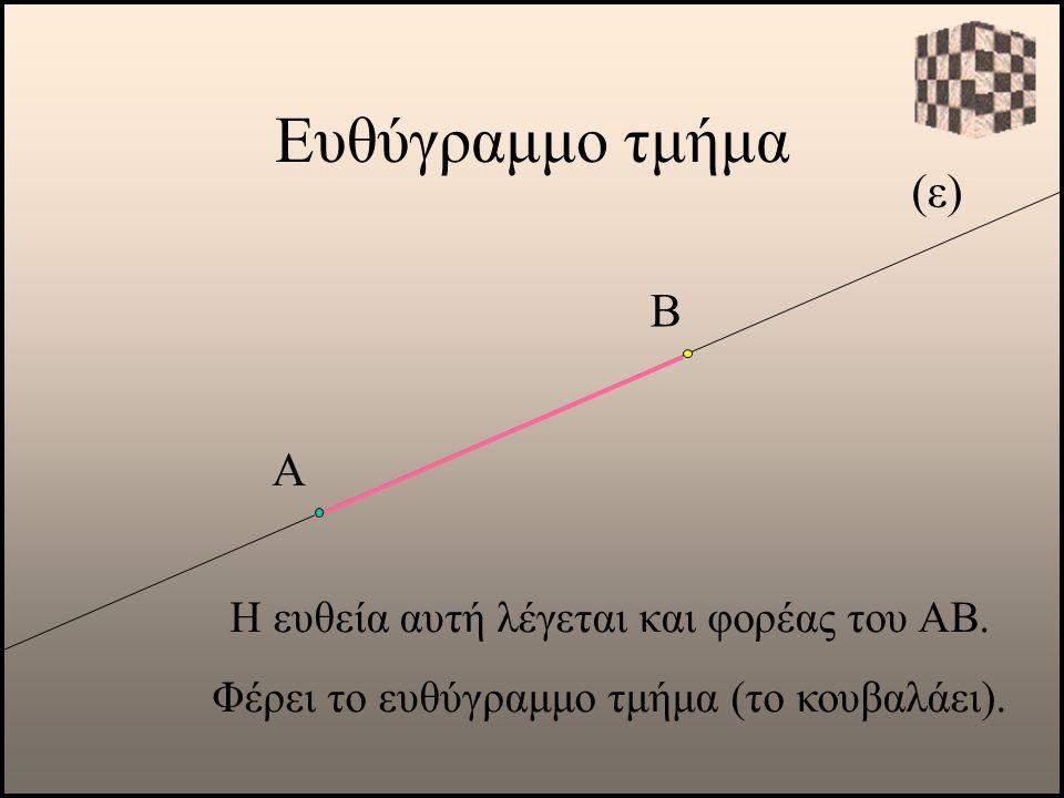 (ε) Α Η ευθεία αυτή λέγεται και φορέας του ΑΒ. Φέρει το ευθύγραμμο τμήμα (το κουβαλάει). Β