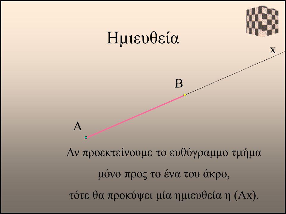 Ημιευθεία x Α Αν προεκτείνουμε το ευθύγραμμο τμήμα μόνο προς το ένα του άκρο, τότε θα προκύψει μία ημιευθεία η (Αx). Β