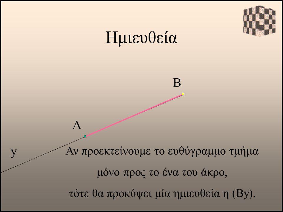 Ημιευθεία y Α Αν προεκτείνουμε το ευθύγραμμο τμήμα μόνο προς το ένα του άκρο, τότε θα προκύψει μία ημιευθεία η (Βy). Β