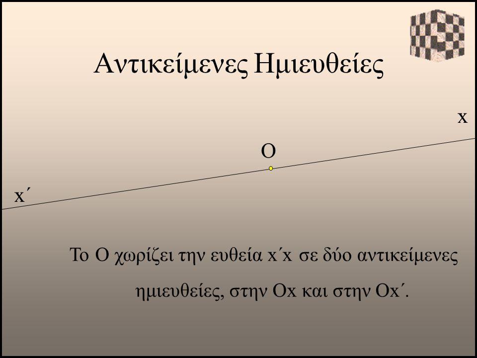 Αντικείμενες Ημιευθείες x Το Ο χωρίζει την ευθεία x΄x σε δύο αντικείμενες ημιευθείες, στην Οx και στην Οx΄. Ο x΄