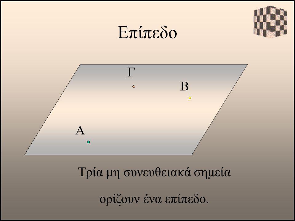 Επίπεδο Α Τρία μη συνευθειακά σημεία ορίζουν ένα επίπεδο. Β Γ