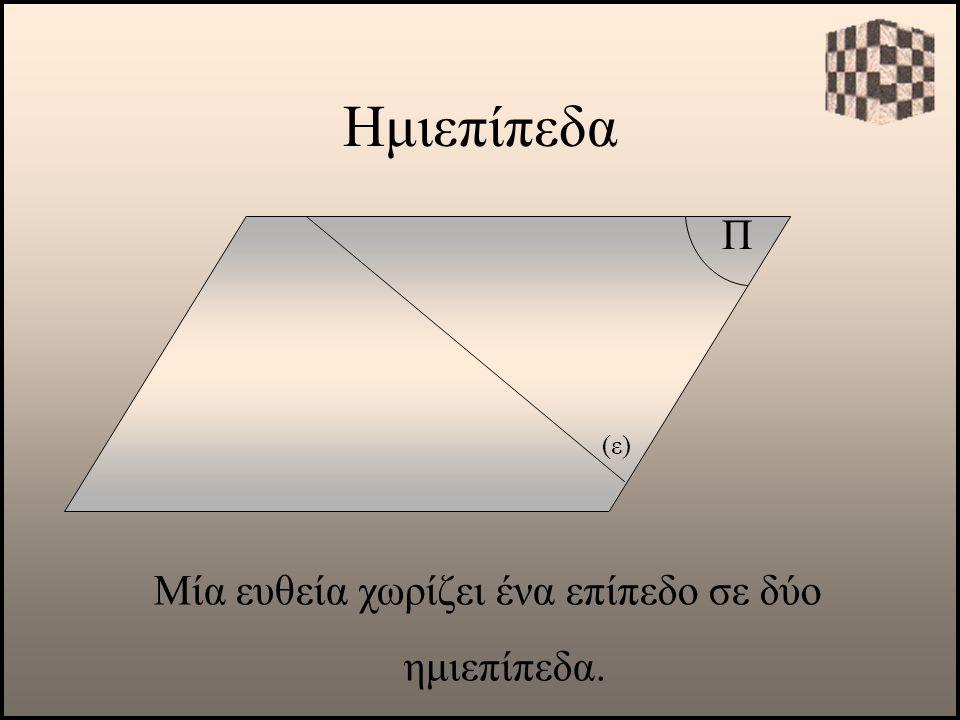Ημιεπίπεδα Π Μία ευθεία χωρίζει ένα επίπεδο σε δύο ημιεπίπεδα. (ε)