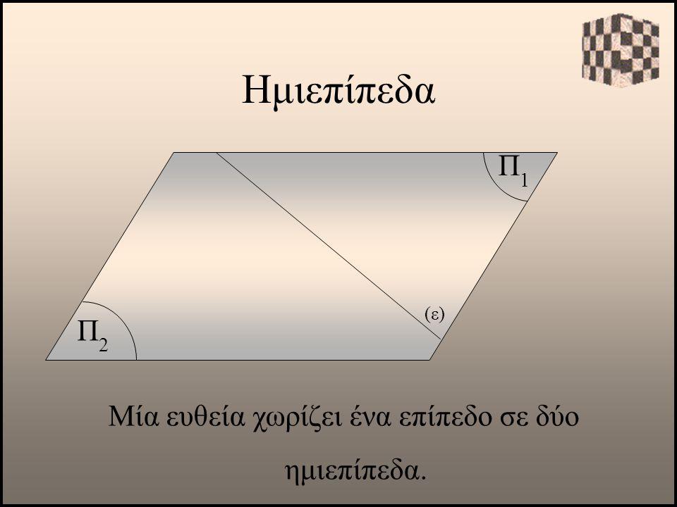 Ημιεπίπεδα Π1Π1 Μία ευθεία χωρίζει ένα επίπεδο σε δύο ημιεπίπεδα. Π2Π2 (ε)