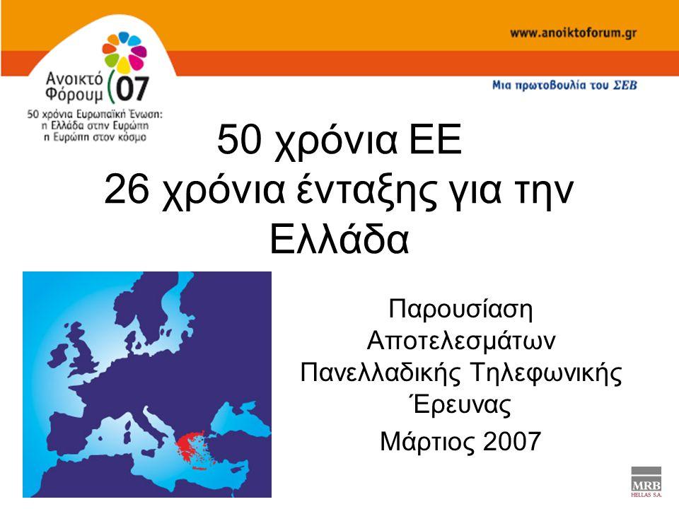 50 χρόνια ΕΕ 26 χρόνια ένταξης για την Ελλάδα Παρουσίαση Αποτελεσμάτων Πανελλαδικής Τηλεφωνικής Έρευνας Μάρτιος 2007