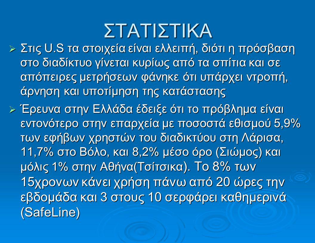 ΣΤΑΤΙΣΤΙΚΑ  Στις U.S τα στοιχεία είναι ελλειπή, διότι η πρόσβαση στο διαδίκτυο γίνεται κυρίως από τα σπίτια και σε απόπειρες μετρήσεων φάνηκε ότι υπάρχει ντροπή, άρνηση και υποτίμηση της κατάστασης  Έρευνα στην Ελλάδα έδειξε ότι το πρόβλημα είναι εντονότερο στην επαρχεία με ποσοστά εθισμού 5,9% των εφήβων χρηστών του διαδικτύου στη Λάρισα, 11,7% στο Βόλο, και 8,2% μέσο όρο (Σιώμος) και μόλις 1% στην Αθήνα(Τσίτσικα ).