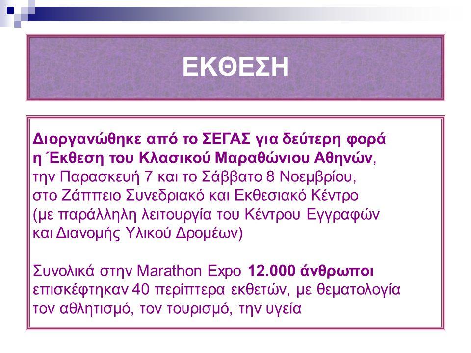 ΕΚΘΕΣΗ Διοργανώθηκε από το ΣΕΓΑΣ για δεύτερη φορά η Έκθεση του Κλασικού Μαραθώνιου Αθηνών, την Παρασκευή 7 και το Σάββατο 8 Νοεμβρίου, στο Ζάππειο Συν
