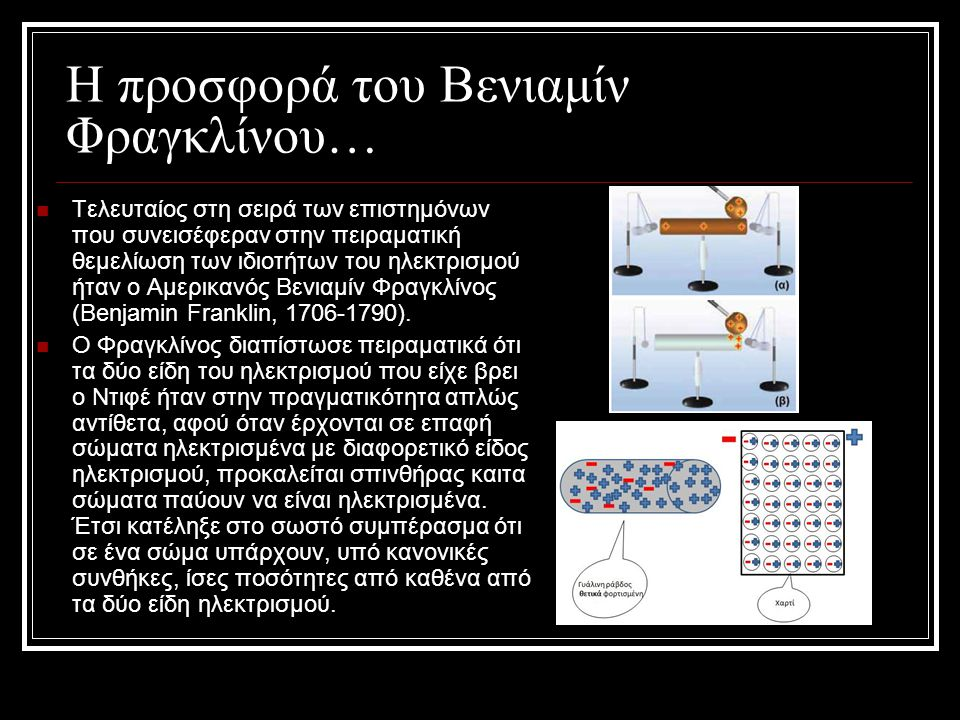 Η προσφορά του Βενιαμίν Φραγκλίνου…  Τελευταίος στη σειρά των επιστημόνων που συνεισέφεραν στην πειραματική θεμελίωση των ιδιοτήτων του ηλεκτρισμού ή