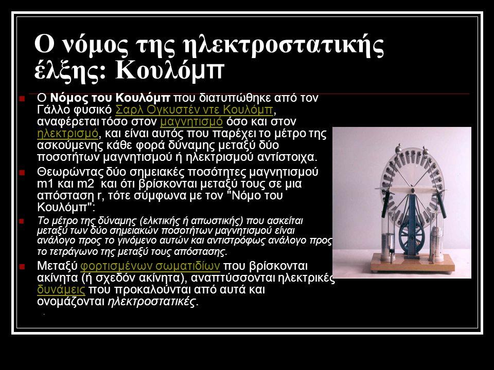 Ο νόμος της ηλεκτροστατικής έλξης: Κουλό μπ ΟΟ Νόμος του Κουλόμπ που διατυπώθηκε από τον Γάλλο φυσικό Σαρλ Ογκυστέν ντε Κουλόμπ, αναφέρεται τόσο στο