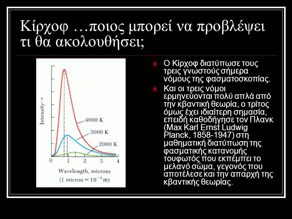 Κίρχοφ …ποιος μπορεί να προβλέψει τι θα ακολουθήσει;  Ο Κίρχοφ διατύπωσε τους τρεις γνωστούς σήμερα νόμους της φασματοσκοπίας.  Και οι τρεις νόμοι ε