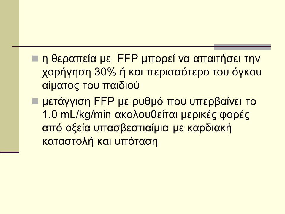  η θεραπεία με FFP μπορεί να απαιτήσει την χορήγηση 30% ή και περισσότερο του όγκου αίματος του παιδιού  μετάγγιση FFP με ρυθμό που υπερβαίνει το 1.