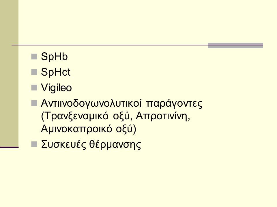  SpHb  SpHct  Vigileo  Αντιινοδογωνολυτικοί παράγοντες (Τρανξεναμικό οξύ, Απροτινίνη, Αμινοκαπροικό οξύ)  Συσκευές θέρμανσης
