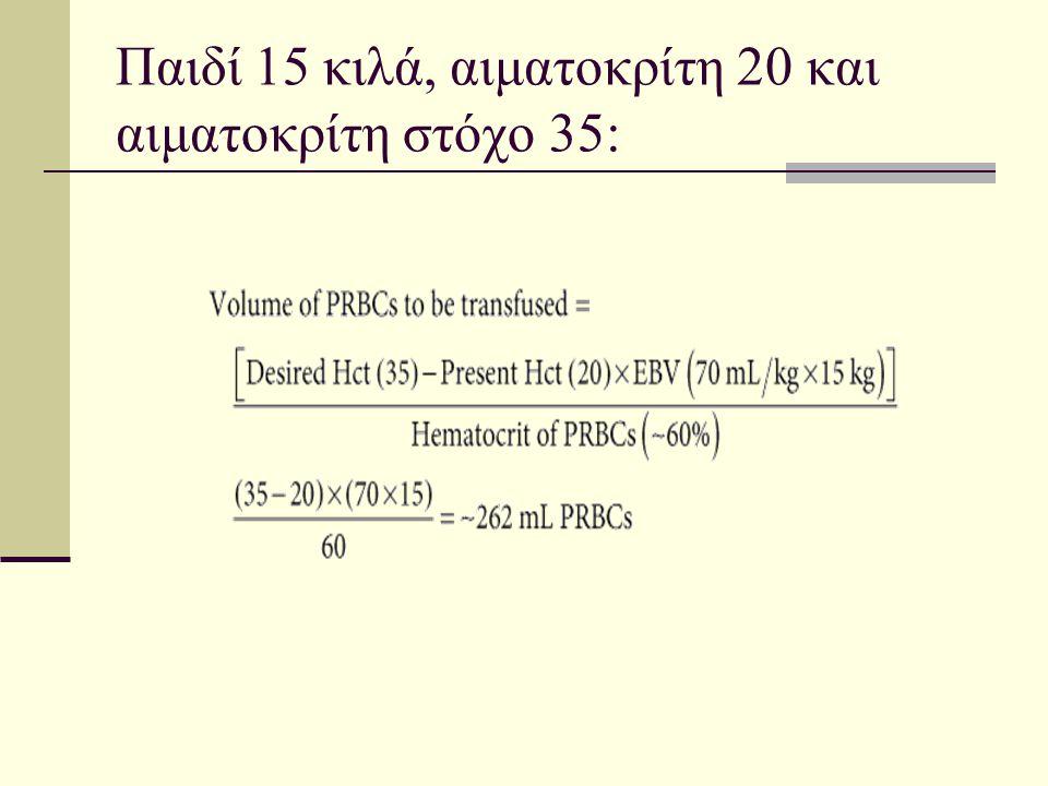Παιδί 15 κιλά, αιματοκρίτη 20 και αιματοκρίτη στόχο 35: