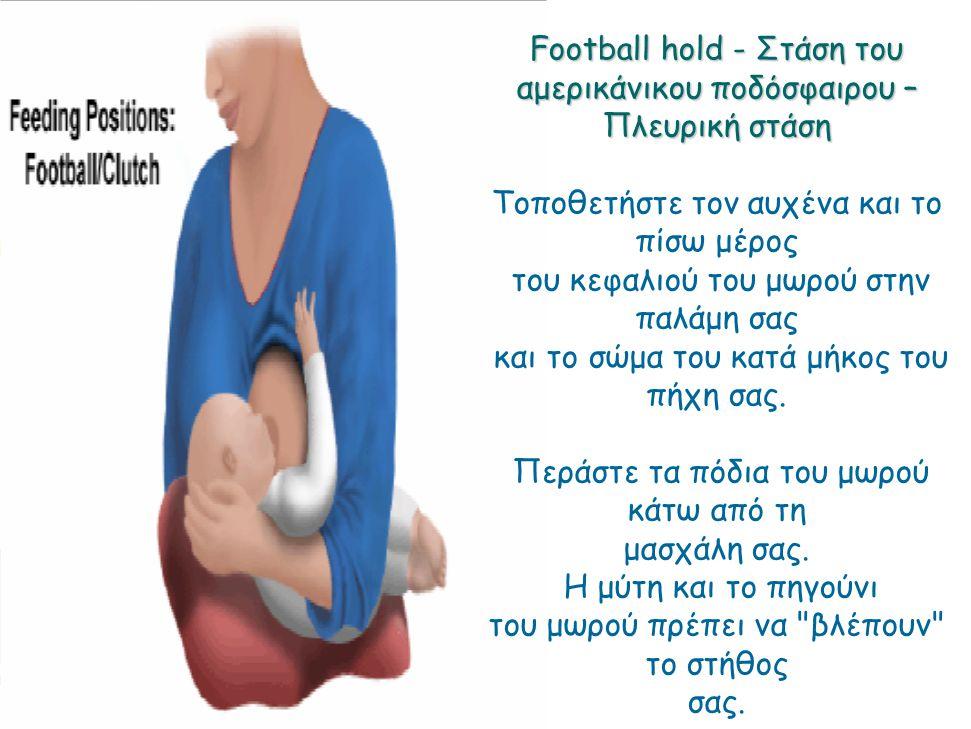 Football hold - Στάση του αμερικάνικου ποδόσφαιρου – Πλευρική στάση Τοποθετήστε τον αυχένα και το πίσω μέρος του κεφαλιού του μωρού στην παλάμη σας κα