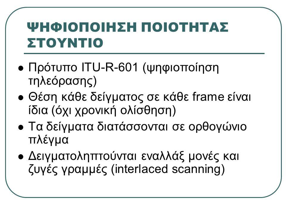 ΨΗΦΙΟΠΟΙΗΣΗ ΠΟΙΟΤΗΤΑΣ ΣΤΟΥΝΤΙΟ  Πρότυπο ITU-R-601 (ψηφιοποίηση τηλεόρασης)  Θέση κάθε δείγματος σε κάθε frame είναι ίδια (όχι χρονική ολίσθηση)  Τα δείγματα διατάσσονται σε ορθογώνιο πλέγμα  Δειγματοληπτούνται εναλλάξ μονές και ζυγές γραμμές (interlaced scanning)