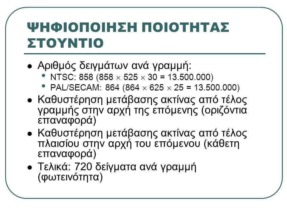 ΨΗΦΙΟΠΟΙΗΣΗ ΠΟΙΟΤΗΤΑΣ ΣΤΟΥΝΤΙΟ  Αριθμός δειγμάτων ανά γραμμή: • NTSC: 858 (858  525  30 = 13.500.000) • PAL/SECAM: 864 (864  625  25 = 13.500.000)  Καθυστέρηση μετάβασης ακτίνας από τέλος γραμμής στην αρχή της επόμενης (οριζόντια επαναφορά)  Καθυστέρηση μετάβασης ακτίνας από τέλος πλαισίου στην αρχή του επόμενου (κάθετη επαναφορά)  Τελικά: 720 δείγματα ανά γραμμή (φωτεινότητα)