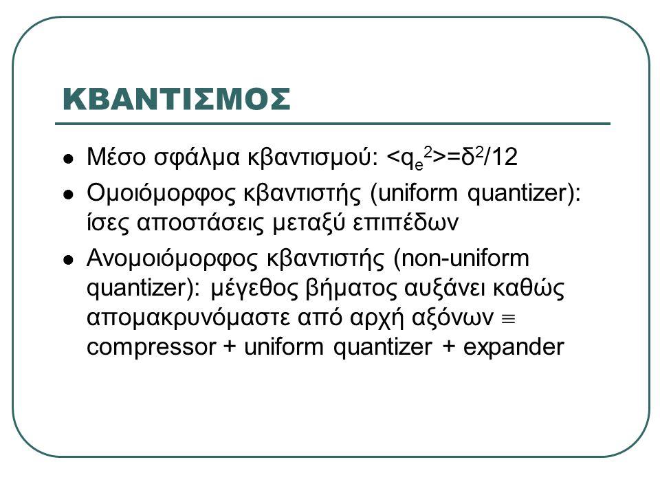 ΚΒΑΝΤΙΣΜΟΣ  Μέσο σφάλμα κβαντισμού: =δ 2 /12  Ομοιόμορφος κβαντιστής (uniform quantizer): ίσες αποστάσεις μεταξύ επιπέδων  Ανομοιόμορφος κβαντιστής (non-uniform quantizer): μέγεθος βήματος αυξάνει καθώς απομακρυνόμαστε από αρχή αξόνων  compressor + uniform quantizer + expander