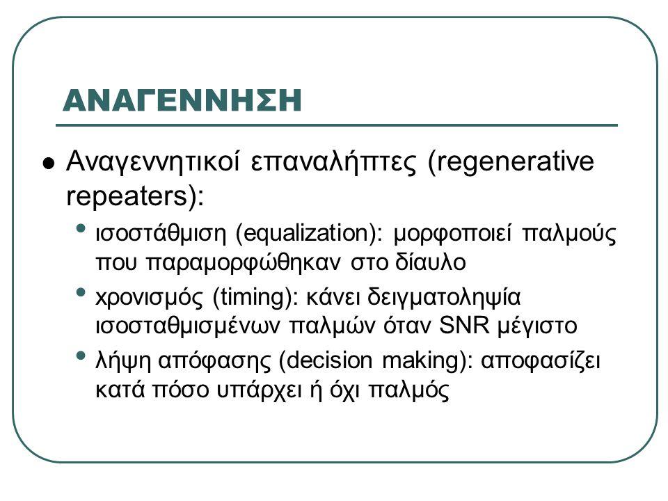 ΑΝΑΓΕΝΝΗΣΗ  Αναγεννητικοί επαναλήπτες (regenerative repeaters): • ισοστάθμιση (equalization): μορφοποιεί παλμούς που παραμορφώθηκαν στο δίαυλο • xρονισμός (timing): κάνει δειγματοληψία ισοσταθμισμένων παλμών όταν SNR μέγιστο • λήψη απόφασης (decision making): αποφασίζει κατά πόσο υπάρχει ή όχι παλμός