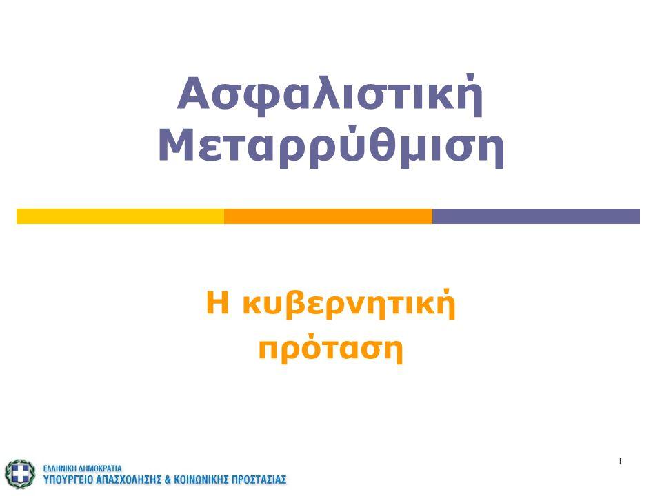 22 Οι κεντρικές επιλογές (συν.)  Να μην αιφνιδιάσει  ικανός μεταβατικός χρόνος για την εφαρμογή των περισσότερων αλλαγών, οι οποίες δεν αφορούν όσους κατοχυρώνουν συνταξιοδοτικό δικαίωμα μέχρι το 2013  Να εξασφαλίσει τη λειτουργία στην πράξη, από την επόμενη κιόλας μέρα, ώστε να αναδειχτούν άμεσα οι δυνατότητες του Σχεδίου και να εγγυηθεί τη βιωσιμότητα του Ασφαλιστικού Συστήματος Βιωσιμότητα - δικαιοσύνη - λειτουργικότητα