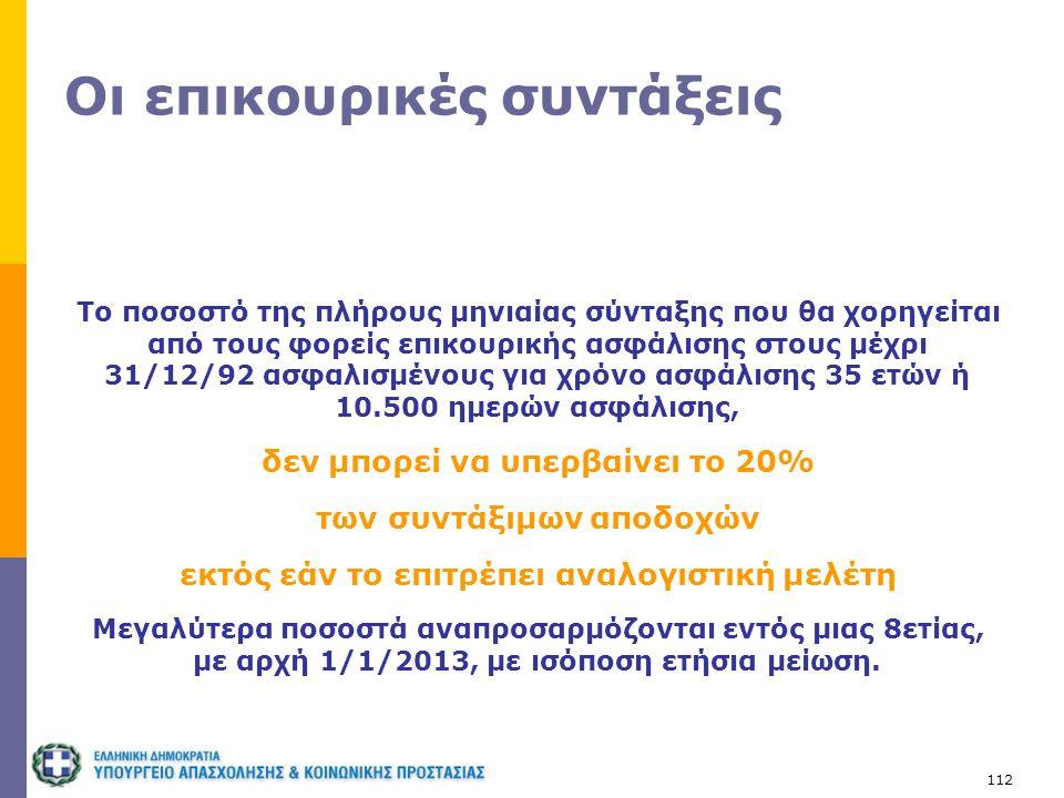 112 Οι επικουρικές συντάξεις Το ποσοστό της πλήρους μηνιαίας σύνταξης που θα χορηγείται από τους φορείς επικουρικής ασφάλισης στους μέχρι 31/12/92 ασφ