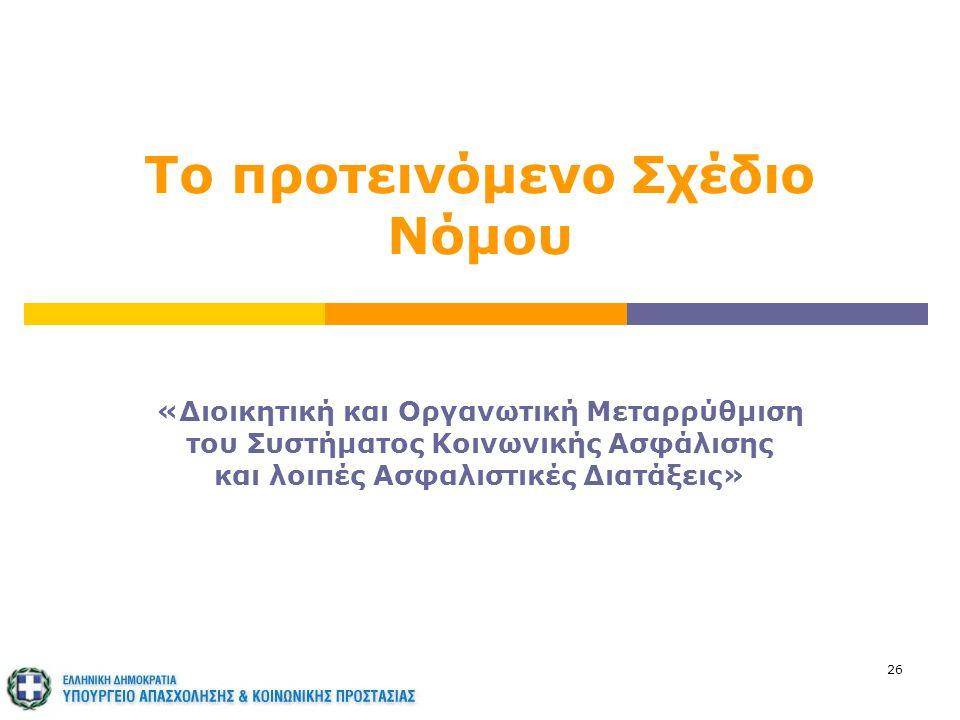 26 Το προτεινόμενο Σχέδιο Νόμου «Διοικητική και Οργανωτική Μεταρρύθμιση του Συστήματος Κοινωνικής Ασφάλισης και λοιπές Ασφαλιστικές Διατάξεις»