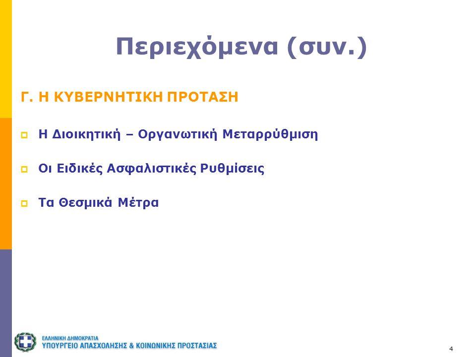 4 Περιεχόμενα (συν.) Γ. Η ΚΥΒΕΡΝΗΤΙΚΗ ΠΡΟΤΑΣΗ  H Διοικητική – Οργανωτική Μεταρρύθμιση  Oι Ειδικές Ασφαλιστικές Ρυθμίσεις  Τα Θεσμικά Μέτρα