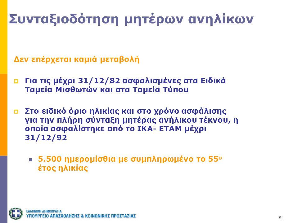 84 Συνταξιοδότηση μητέρων ανηλίκων Δεν επέρχεται καμιά μεταβολή  Για τις μέχρι 31/12/82 ασφαλισμένες στα Ειδικά Ταμεία Μισθωτών και στα Ταμεία Τύπου
