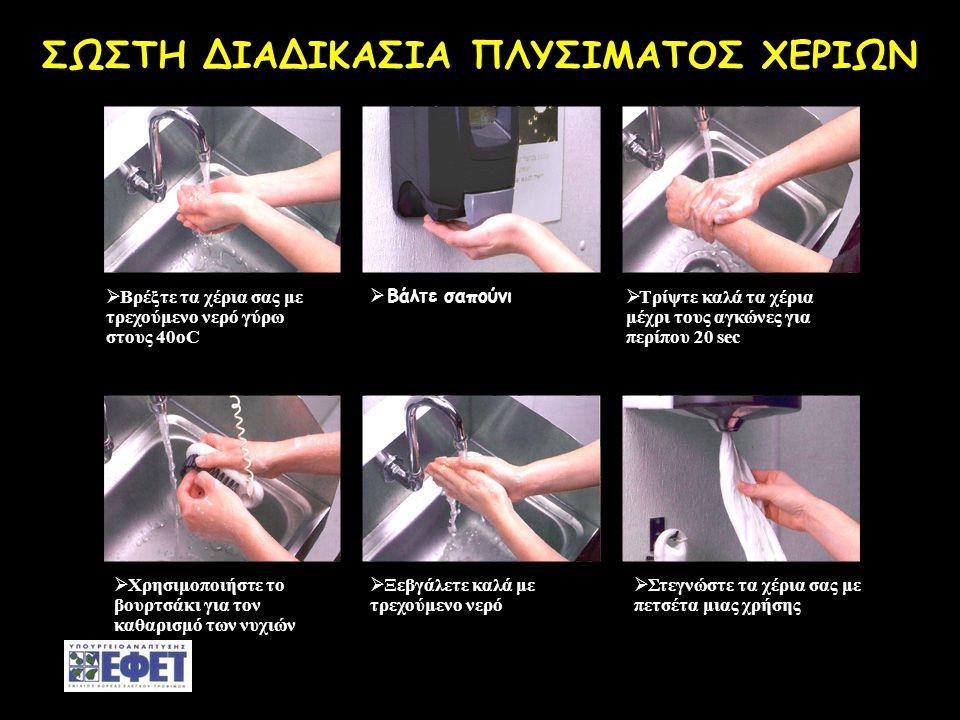 -Ενοτ.4-29 ΣΩΣΤΗ ΔΙΑΔΙΚΑΣΙΑ ΠΛΥΣΙΜΑΤΟΣ ΧΕΡΙΩΝ  Βρέξτε τα χέρια σας με τρεχούμενο νερό γύρω στους 40οC  Bάλτε σαπούνι  Τρίψτε καλά τα χέρια μέχρι το