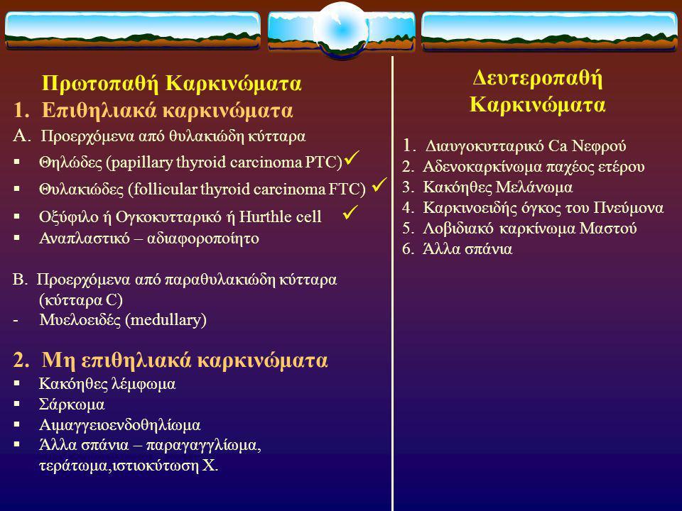 Πρωτοπαθή Καρκινώματα 1.Επιθηλιακά καρκινώματα Α.