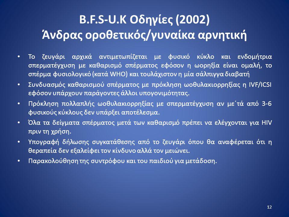 B.F.S-U.K Οδηγίες (2002) Άνδρας οροθετικός/γυναίκα αρνητική • Το ζευγάρι αρχικά αντιμετωπίζεται με φυσικό κύκλο και ενδομήτρια σπερματέγχυση με καθαρι