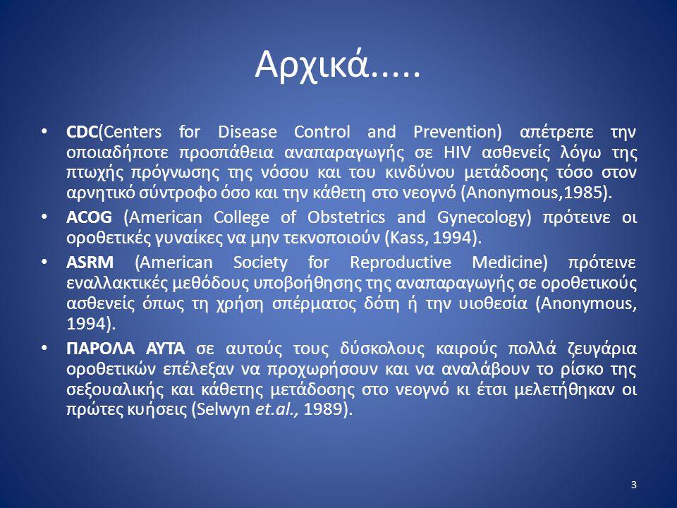 Αρχικά..... • CDC(Centers for Disease Control and Prevention) απέτρεπε την οποιαδήποτε προσπάθεια αναπαραγωγής σε HIV ασθενείς λόγω της πτωχής πρόγνωσ