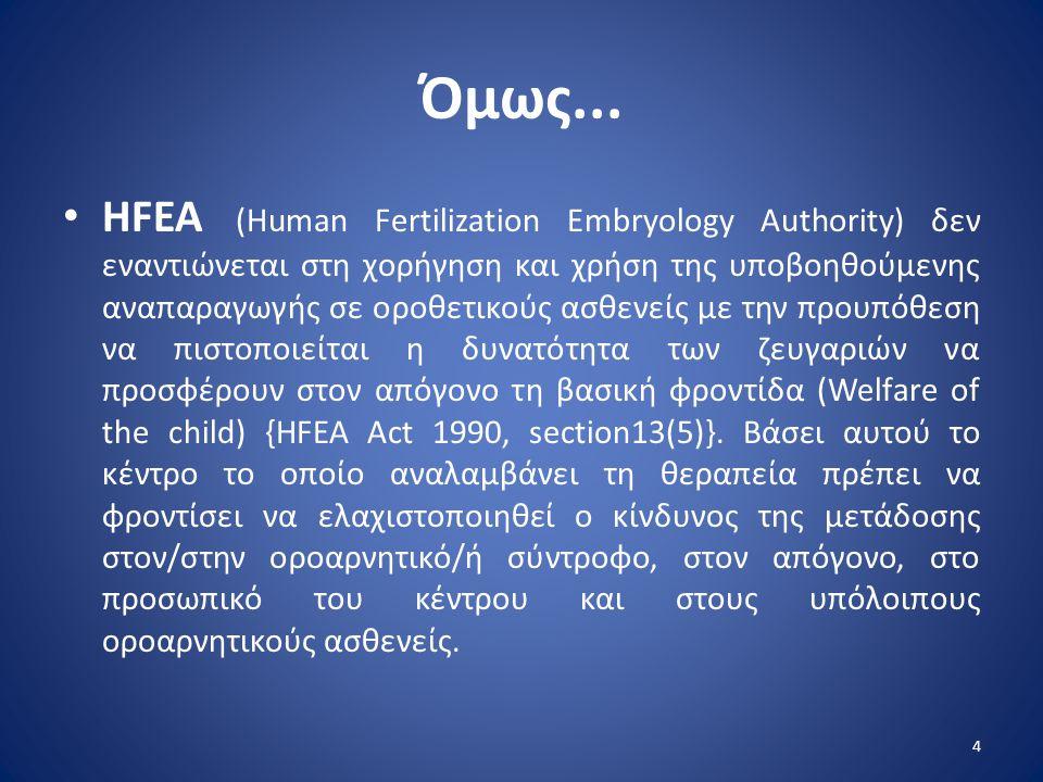 Όμως... • HFEA (Human Fertilization Embryology Authority) δεν εναντιώνεται στη χορήγηση και χρήση της υποβοηθούμενης αναπαραγωγής σε οροθετικούς ασθεν