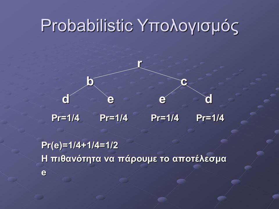 Probabilistic Υπολογισμός r b c b c d e e d d e e d Pr=1/4 Pr=1/4 Pr=1/4 Pr=1/4 Pr=1/4 Pr=1/4 Pr=1/4 Pr=1/4Pr(e)=1/4+1/4=1/2 Η πιθανότητα να πάρουμε τ