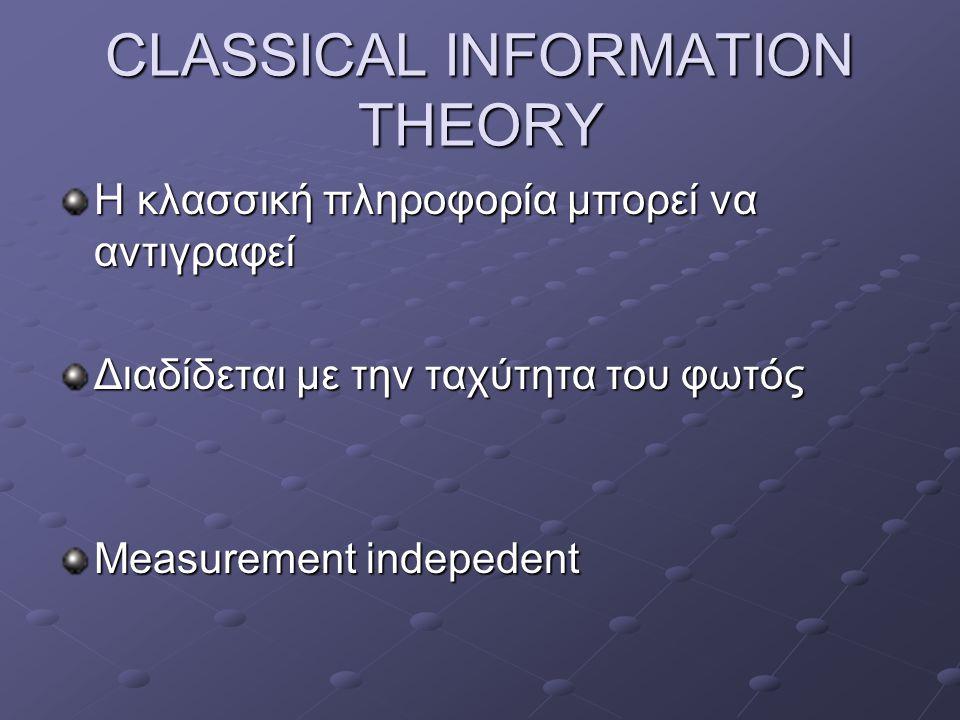 CLASSICAL INFORMATION THEORY Η κλασσική πληροφορία μπορεί να αντιγραφεί Διαδίδεται με την ταχύτητα του φωτός Measurement indepedent