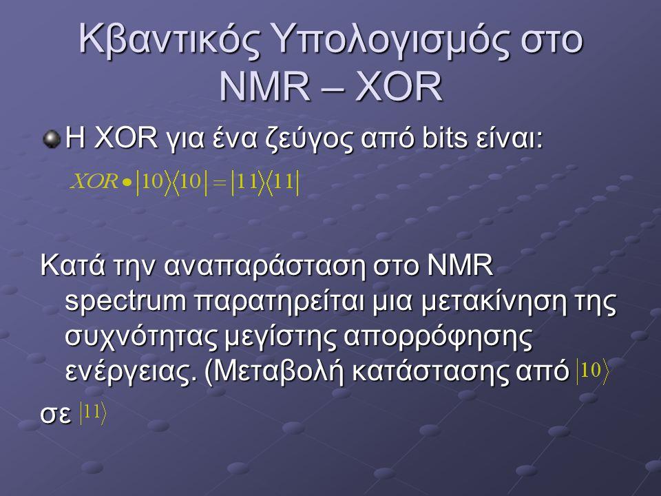 Κβαντικός Υπολογισμός στο NMR – XOR Η XOR για ένα ζεύγος από bits είναι: Κατά την αναπαράσταση στο NMR spectrum παρατηρείται μια μετακίνηση της συχνότ