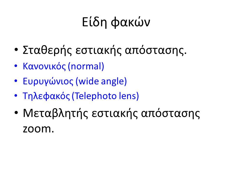 Είδη φακών • Σταθερής εστιακής απόστασης. • Κανονικός (normal) • Ευρυγώνιος (wide angle) • Τηλεφακός (Telephoto lens) • Μεταβλητής εστιακής απόστασης