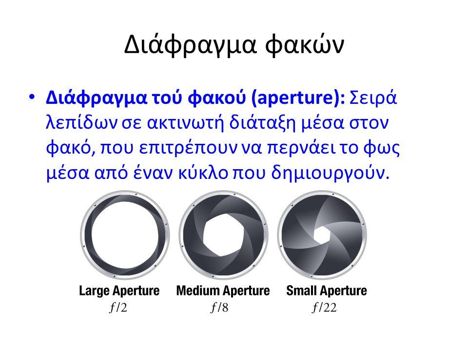 Διάφραγμα φακών • Διάφραγμα τού φακού (aperture): Σειρά λεπίδων σε ακτινωτή διάταξη μέσα στον φακό, που επιτρέπουν να περνάει το φως μέσα από έναν κύκ